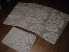 ROMANY WASHABLES NON SLIP SUPER THICK ROSE MATS FULL SET OF 4 SILVER 80CMX120CM